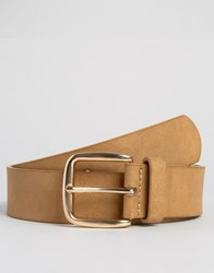 Asos Belt In Faux Leather With Rose Gold Buckle Tan