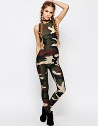 Jaded London Unitard Legging Jumpsuit Camo Print With Cut Out Detail Khaki Green