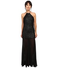 Halston Halter Sequin High Low Gown Black Gunmetal Women's Dress