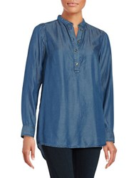 Michael Michael Kors Plus Chambray Roundneck Tunic Blue