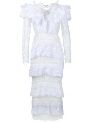 Alessandra Rich Heart Ruffle Lace Dress White