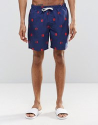 Asos Mid Length Swim Shorts With Polka Dot Print And Drawcord Detail Navy