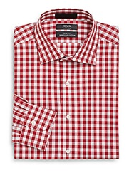 Saks Fifth Avenue Black Slim Fit Gingham Two Ply Cotton Dress Shirt Red
