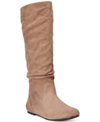 Wanted Toucan Tall Shaft Faux Fur Slouch Boots Women's Shoes Taupe
