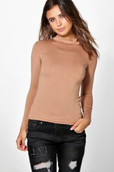 Boohoo Tanya Long Sleeve Basic Rib Turtle Neck Top Tan
