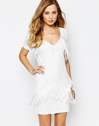 Supertrash Duoma Fringed Mini Dress White