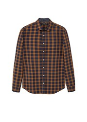 Mango Slim Fit Madras Check Shirt Yellow