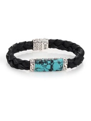 John Hardy Batu Classic Chain Turquoise Sterling Silver And Leather Bracelet Black
