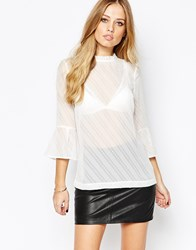 Y.A.S Cara Top With Fluted Sleeves White
