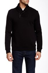 Calvin Klein Long Sleeve Solid Quilted Fleece Shawl Sweater Black