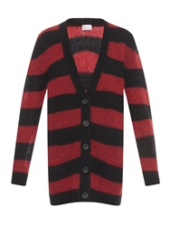 Red Valentino Striped Mohair Blend Cardigan