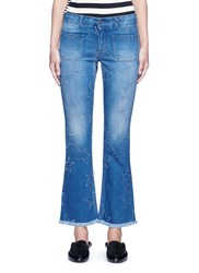 Stella Mccartney Distressed Star Kick Flare Denim Pants Blue