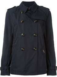 Woolrich Cropped Trench Coat Blue