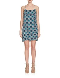 1.State Patterned Shift Dress Turquoise