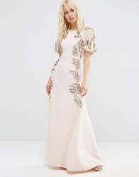 Asos Floral Embellished Flutter Sleeve Maxi Dress Nude Multi