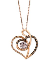 Le Vian Chocolatier Pink Amethyst 3 4 Ct. T.W. And Diamond 1 5 Ct. T.W. Heart Pendant Necklace In 14K Rose Gold