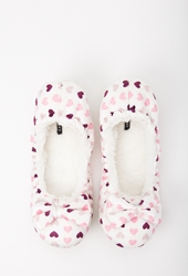 Forever 21 Faux Fur Lined Heart Print Slippers White Pink