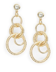 Rj Graziano Circled And Rhinestone Chandelier Earrings Gold