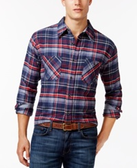 Weatherproof Long Sleeve Plaid Brushed Flannel Shirt Dark Blue