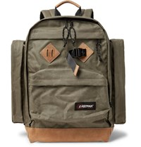 Eastpak Killington Leather Trimmed Canvas Backpack Army Green