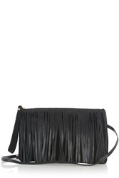 Warehouse Leather Suede Fringed Clutch Black