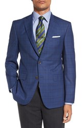 David Donahue Men's Big And Tall 'Connor' Classic Fit Plaid Wool Sport Coat Blue