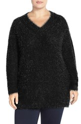 Plus Size Women's Sejour 'Happy' Eyelash Yarn V Neck Sweater Black