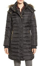 Sam Edelman Women's Faux Fur Trim Down And Feather Fill Puffer Coat