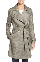 Women's Kenneth Cole New York Faux Linen Long Trench Coat Olive