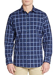 Bugatchi Classic Fit Plaid And Checkered Sportshirt Navy