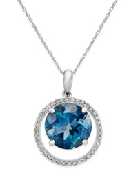 Macy's London Blue Topaz 4 3 4 Ct. T.W. And Diamond 1 6 Ct. T.W. Pendant Necklace In 14K White Gold