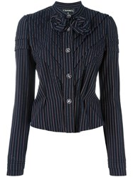 Chanel Vintage Striped Jacket Blue