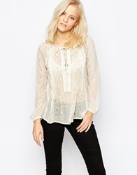 Greylin Zuri Lace Up Boho Shirt Ivory