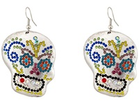 Gypsy Soule Bejeweled Sugar Skull Drop Earrings Silver Multicolor Earring