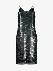 Paco Rabanne Sleeveless Floral Print Metal Dress Black Multi Coloured Transparent