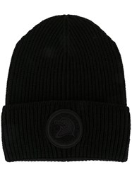 Moncler Embroidered Patch Ribbed Beanie Black