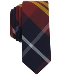 Penguin Men's Graves Plaid Slim Tie Burgandy