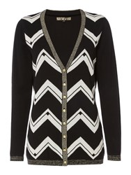 Biba Longline Zig Zag Cardigan Multi Coloured