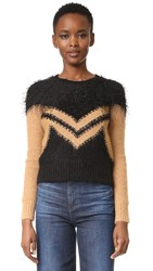 Sonia Rykiel Mix Fluffy Chevron Sweater Black Biscuit