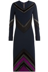 Roland Mouret Dress With Sheer Inserts Blue