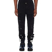 Hood By Air Men's Distressed Canvas Layered Jeans Blue