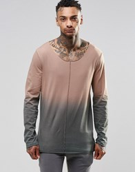 Asos Longline Long Sleeve T Shirt With Dip Dye And Raw Edge Seam Detail Camel Brown