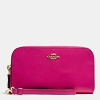 Coach Double Accordion Zip Wallet In Smooth Leather Light Gold Cerise