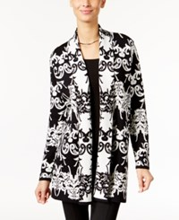 Alfani Petite Scroll Pattern Open Front Cardigan Only At Macy's Black