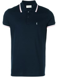 Saint Laurent Striped Trim Polo Shirt Blue