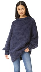 I Love Mr Mittens Oversized Long Ribbed Sweater Navy