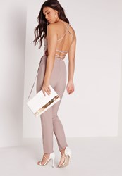 Missguided Crepe Back Strap Detail Jumpsuit Nude Brown