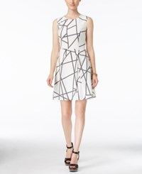 Tommy Hilfiger Sleeveless Graphic Print Fit And Flare Dress White Black