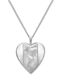 Macy's Engraved Butterfly Heart Locket In Sterling Silver