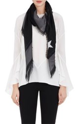Givenchy Women's Rottweiler Graphic Wool Voile Shawl Grey Black Grey Black